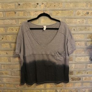 Free People Gray Ombre Tee